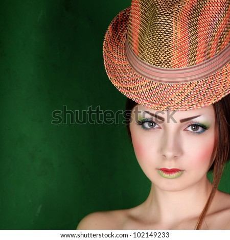 the girl in the hat, retro style - stock photo
