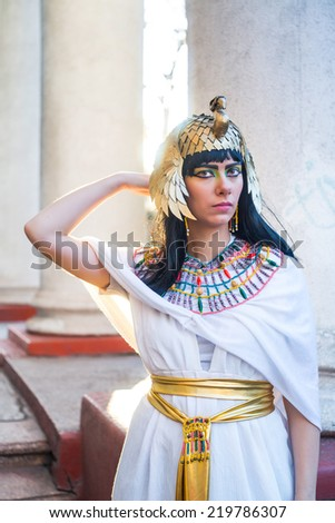 The girl in the image of Nefertiti - stock photo