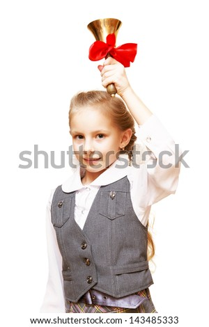 The girl in the school bell rings - stock photo