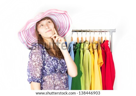 The girl in the shop. - stock photo
