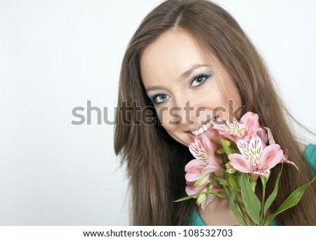 the girl in the studio - stock photo