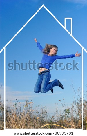 The girl jumps in the field against the sky - stock photo
