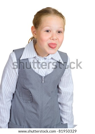 The girl puts out the tongue - stock photo
