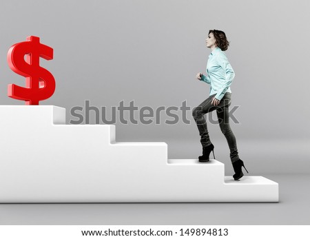 The girl rises upwards on a ladder to money - stock photo