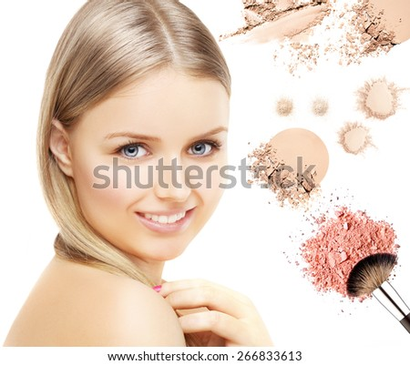 The girl's face with a fresh and beautiful skin . Compact powder and brushes  on white background - stock photo
