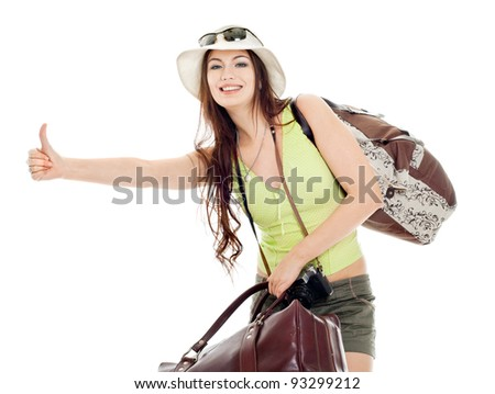 The girl shows catches a passing car, white background - stock photo