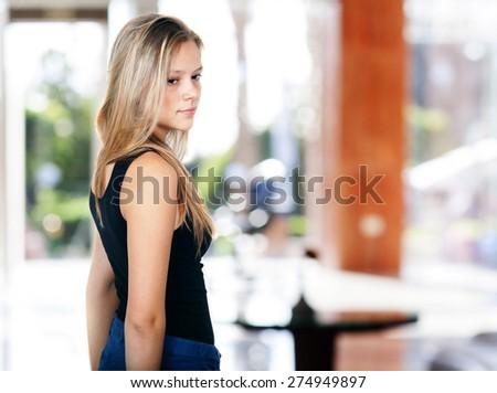 The girl waits.  - stock photo