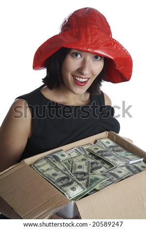The girl with a box of money on a white background - stock photo