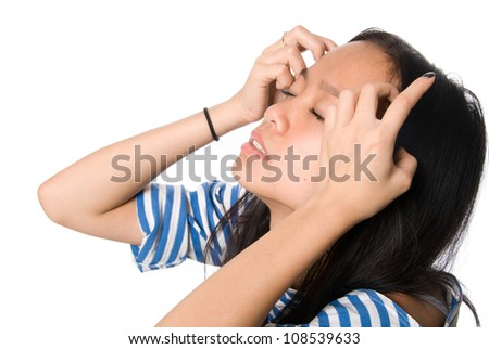 The girl with hands at hair blindly.Isolated on white background.Asian female model. - stock photo