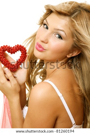 The girl with heart - stock photo