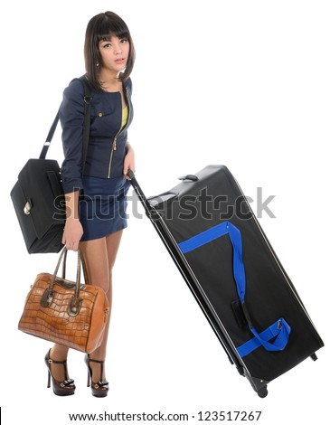 The girl with the big black suitcase on a white background - stock photo