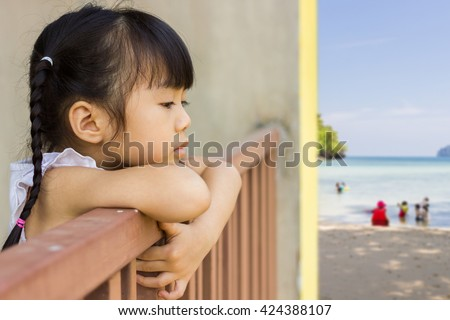 The girls are sad as everyone happy.  - stock photo