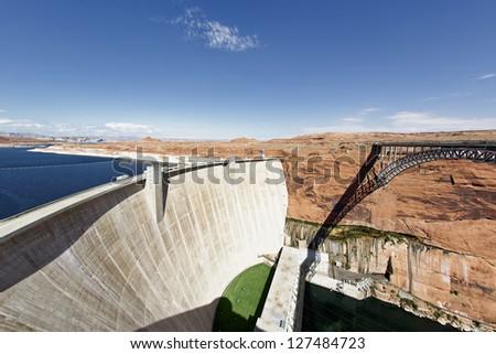 the Glen Dam and bridge in Page, Arizona, USA - stock photo