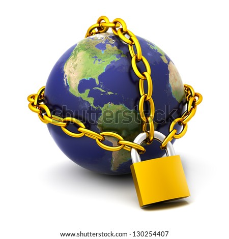 The globe chained on the lock.Elements of this image furnished by NASA - stock photo