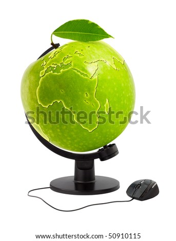 The globe in the form of an apple with a computer mouse (a collage of several files) - stock photo