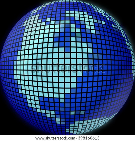 The globe of many pieces, Globe like a mosaic, Globe icon, mosaic map, abstract globe icons, business and social networks concept, planet earth, 3d - stock photo