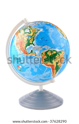 The globe school on a support on a white background - stock photo