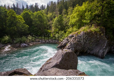 The Goblin Gates, a narrow gorge along the Elwha River on the Olympic Peninsula of Washington state - stock photo