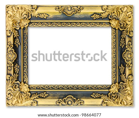 The gold frame on the white background - stock photo