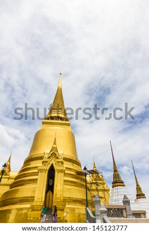 The gold pagoda at Wat Prakaw, Bangkok, Thailand. - stock photo