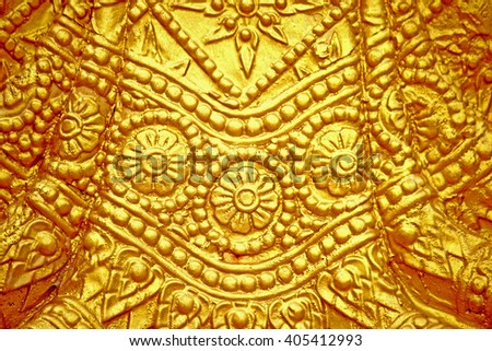 The gold stucco design of native thai style - stock photo