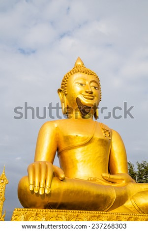 The golden Buddha statue with bee hives at his chin - stock photo