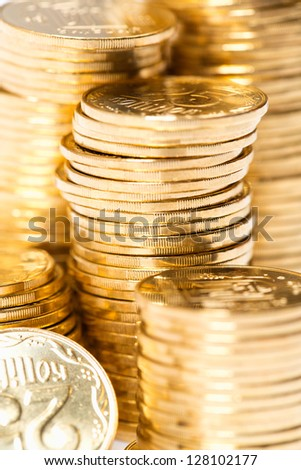 The golden coins close up background - stock photo