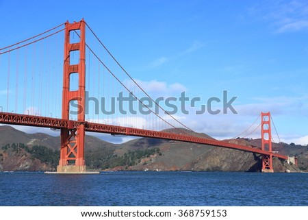 The Golden Gate Bridge on a clear day, viewed from the south looking toward Marin County. - stock photo