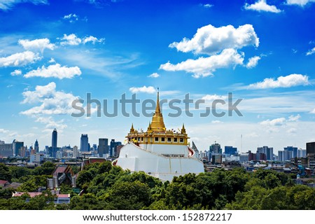 The Golden Mount at Wat Saket, Travel Landmark of Bangkok THAILAND - stock photo