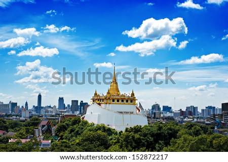 The Golden Mount at Wat Saket, Travel Landmark of Bangkok THAILAND - stock photo