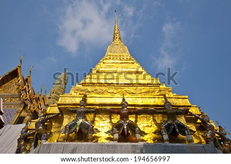 The golden pagoda in the grand-palace. - stock photo