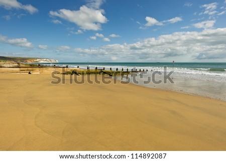 The golden sands of Sandown Beach, Isle of Wight, UK. - stock photo