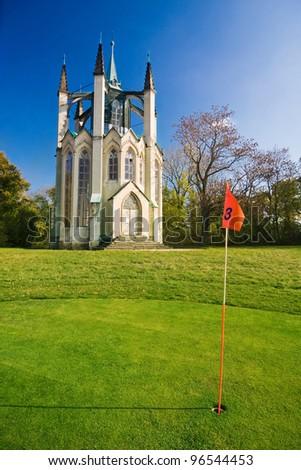 the golf course in Krasny Dvur - Czech Republic - stock photo