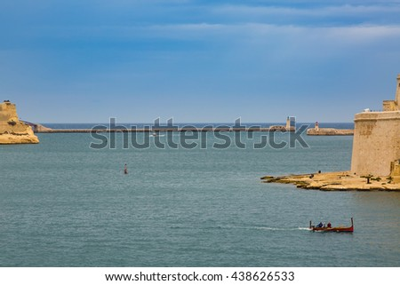 The Grand Harbor estuary to the Mediterranean Sea - Tricity of Valletta, Senglea and Birgu on the island Malta - stock photo