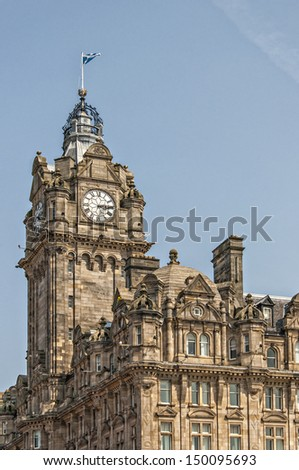 The Grand hotel that dominated the Edinburgh skyline in Scotland. - stock photo