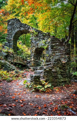 The grand staircase is all that left of the Madame Sherri's Castle in West Chesterfield, New Hampshire. - stock photo