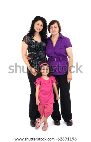 The grandmother, mum and the grand daughter it is isolated on a white background - stock photo