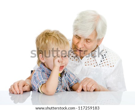 the grandmother talks to the grandson. isolated on white background - stock photo