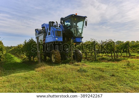 The grape harvest combine , Grape harvesting machine, combine-harvester Tuscany, Italy - stock photo