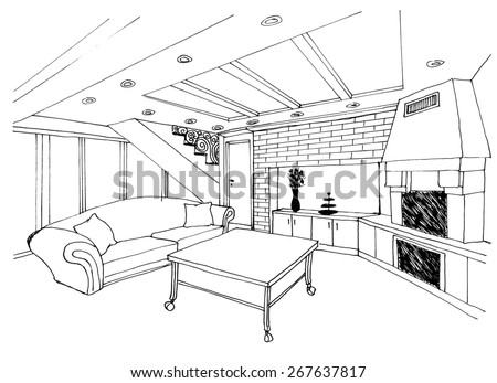 the graphic sketch living room, kitchen with fireplace  in the house, liner - stock photo