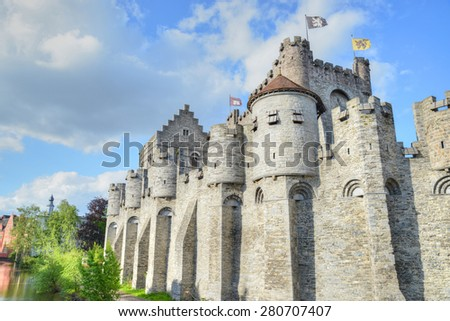 The Gravensteen is a castle in Ghent originating from the Middle Ages - stock photo