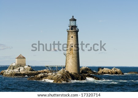 The Graves Light of Boston Harbor is an automated lighthouse eight nautical miles from Boston's inner harbor - stock photo