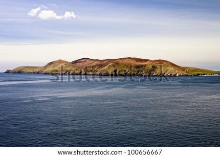 The Great Blasket Island from Sibyl Head on Slea Head drive in Ireland. - stock photo