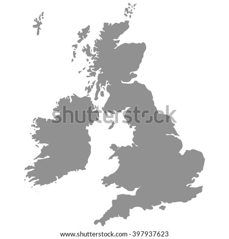 The Great Britain map in gray on a white  background - stock photo
