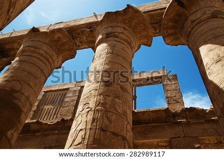 The Great Hypostyle Hall of the Temple of Karnak. Luxor, Egypt. - stock photo