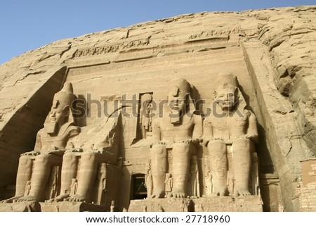 The Great Temple of Rameses II in Abu Simbel - stock photo