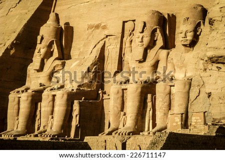The Great Temple of Ramses II at Abu Simbel, Nubia, Southern Egypt. - stock photo