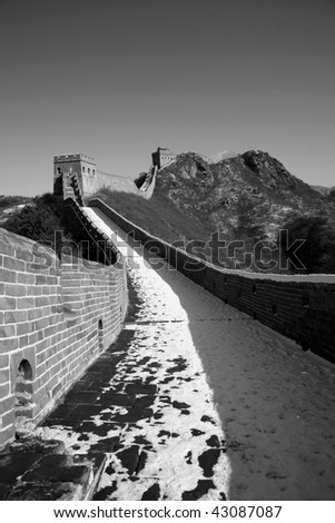 The Great Wall in witer, everything is in black and white. - stock photo