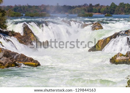 The greatest waterfall in Laos, Khon-Pa-Peng - stock photo