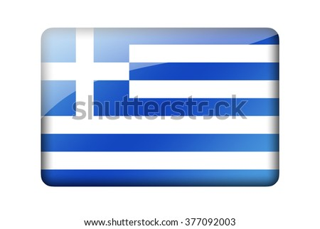 The Greek flag. Rectangular glossy icon. Isolated on white background. - stock photo